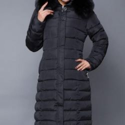 Winter long coat up to -30 degrees, gray and black