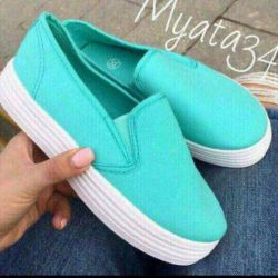 New Mint Slip-on Sneakers
