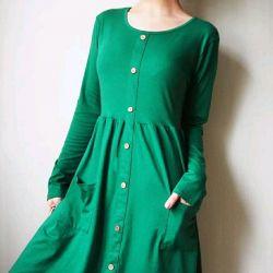 Φόρεμα με κουμπιά πράσινο