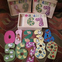 Wooden puzzle NUMBERS in a box. NEW
