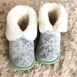 Papuci de blană pentru copii