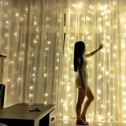 Garland curtains cold warm light