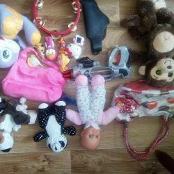 Toys, handbags.