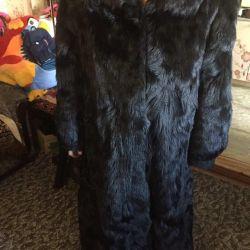 Natural fur coat is very warm