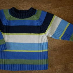 Bright striped cotton sweater. 86 cm. Used