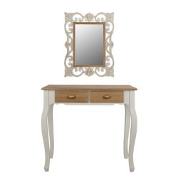 MELODY CONSOLE WITH FIRENZE MIRROR IN EKROU KOFE Π