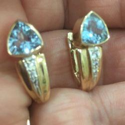 Cercei aur 585 standart cu topaz