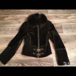 Jachetă originală cu blană naturală