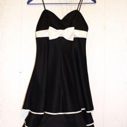 Μαύρο χνουδωτό φόρεμα 44 S εορταστικό