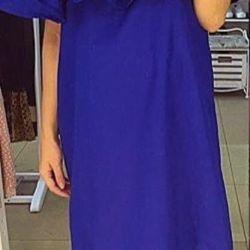 Dress with open shoulders deep blue