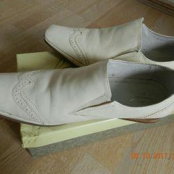 Pantofi albi pentru bărbați din piele