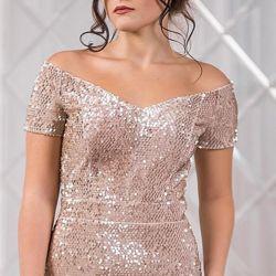 Evening dress with detachable skirt