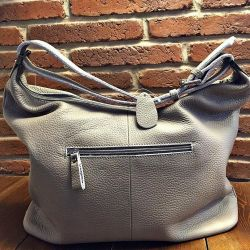 Bag from genuine leather Gray new