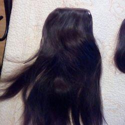 Хвлст, и челка,натуральные,темно коричневые волосы