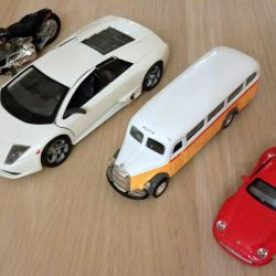 Models of cars in stock, motorcycle