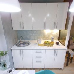 Κουζίνα Μικρή 160 cm λευκό γυαλιστερό MDF