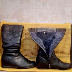 Women's boots. Winter, nature. fur, leather