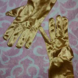 Gold satin gloves