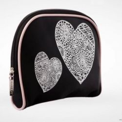 Cosmetic bag with hearts