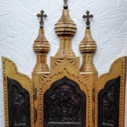 Skladen Triptych Carved Handwork Lemn XX in