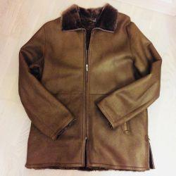 Natural sheepskin coat for men, r. 54-56