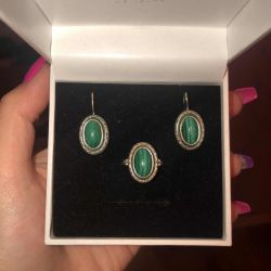 Malachite set (ring + earrings)