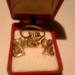 Set gold earrings-hearts and ring.