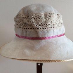 Летняя шляпка изо льна, арт 026, размер 57-59