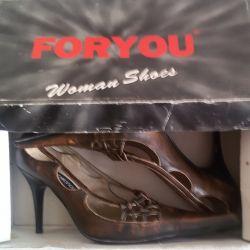Ayakkabı sandalet, hakiki deri, İtalya, r-37