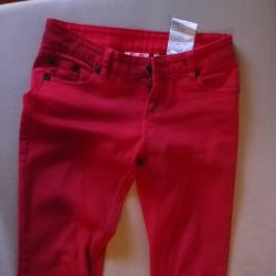 red, straight jeans from Germany