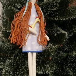 Doll with a cockerel handmade