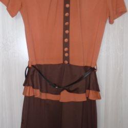 Платье трикотажное с баской, р 42(44)