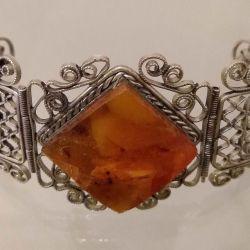 винтажный браслет:янтарь, скань