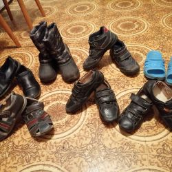 Package of shoes. Boots, boots, shoes, sandals, slates