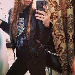 Black leather jacket, new, 42-44