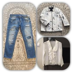 Стильные джинсы на весну лето 42/44 Zara топ жакет
