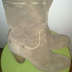 Natural suede boots