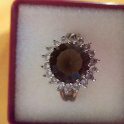 Ring with rauchtopaz