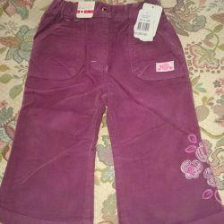 Velvet trousers for the girl new p. 86. Baby