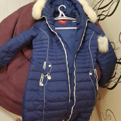 Blue female down jacket