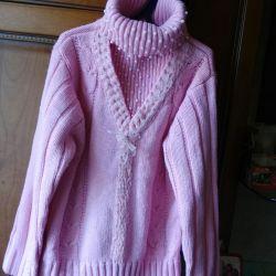 Свитер розовый ,тeплый шерсть 80%   7-9лет