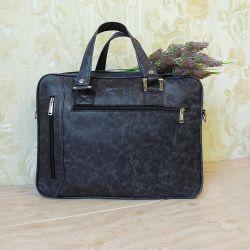 Большая мужская сумка из кожи для ноутбука