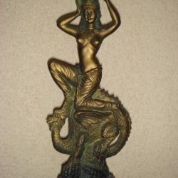 Candlestick Woman on the dragon, 40 cm