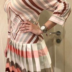 Desenli çizgili elbise