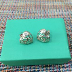 Серьги сердечки с фианитами серебро 925