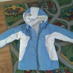 Ceket Nike, çift taraflı, sonbahar ılık bir kış.