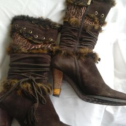 Women's boots, winter, leather + suede