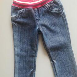Warm jeans, new, 9-12 months.