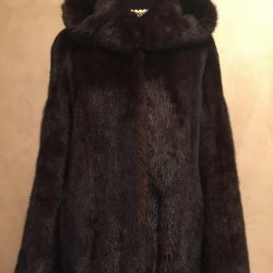Mink coat with a hood 44-48
