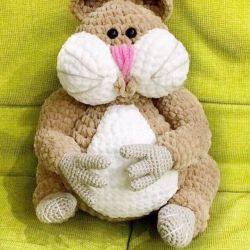 Handmade knitted plush hamster